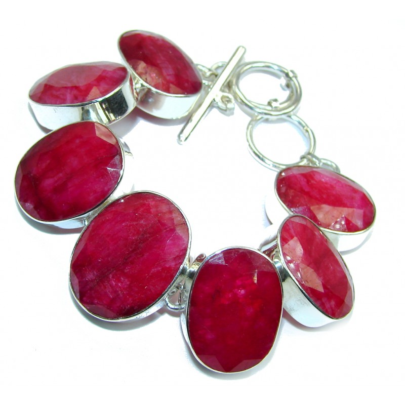 Sublime Red Passion Kashmire Ruby Sterling Silver Bracelet