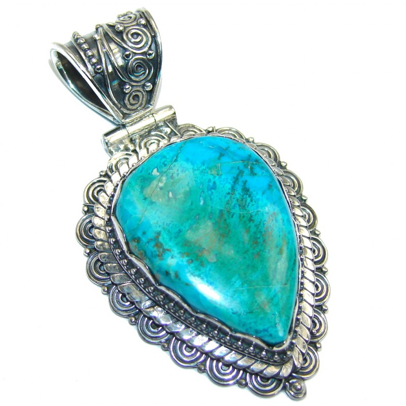 Amazing Blue Parrot's Wing Chrysocolla Sterling Silver Pendant