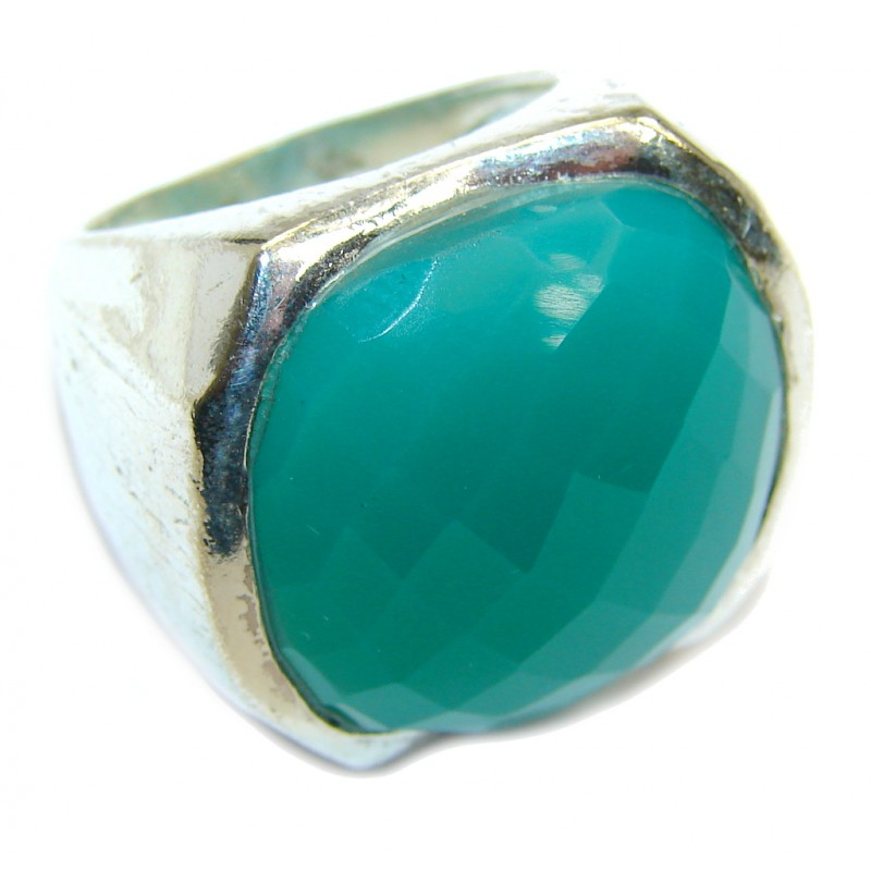 Faceted Green Agate Sterling Silver Ring s. 6 1/4