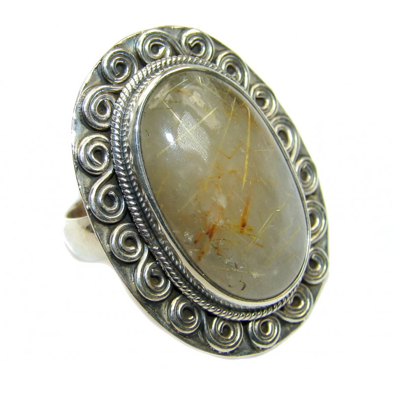Golden Rutilated Sterling Silver Ring s. 6