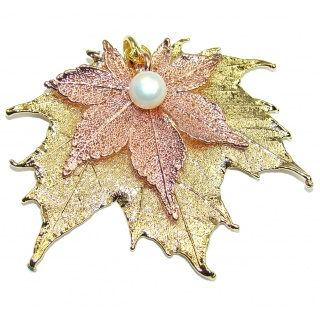 Stylish Deeped In Copper Leaves & Fresh Water Pearl Sterling Silver Pendant