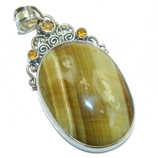 Golden Tigers Eye Citrine Sterling Silver Pendant