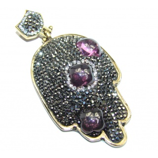 Victorian Style Hamsa Hand created Amethyst Sterling Silver Pendant