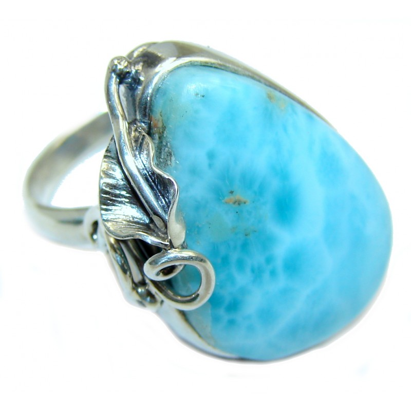 Genuine AAA Blue Larimar Sterling Silver Ring size adjustable