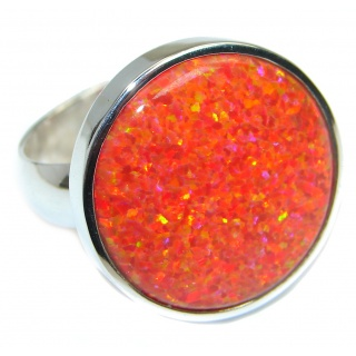 Red Lab created Fire Opal Sterling Silver Ring size adjustable