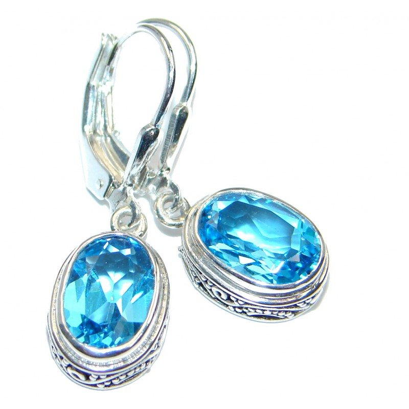 Sublime Swiss Blue Topaz Indonesia made Sterling Silver earrings