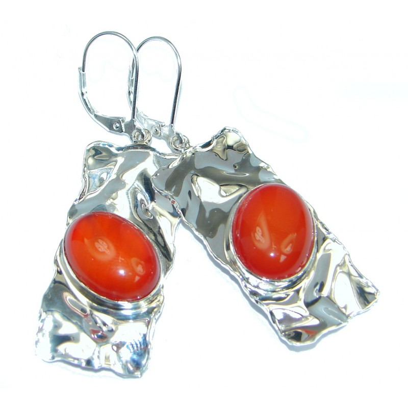 Long Orange Mexican Fire Opal hammered Sterling Silver earrings