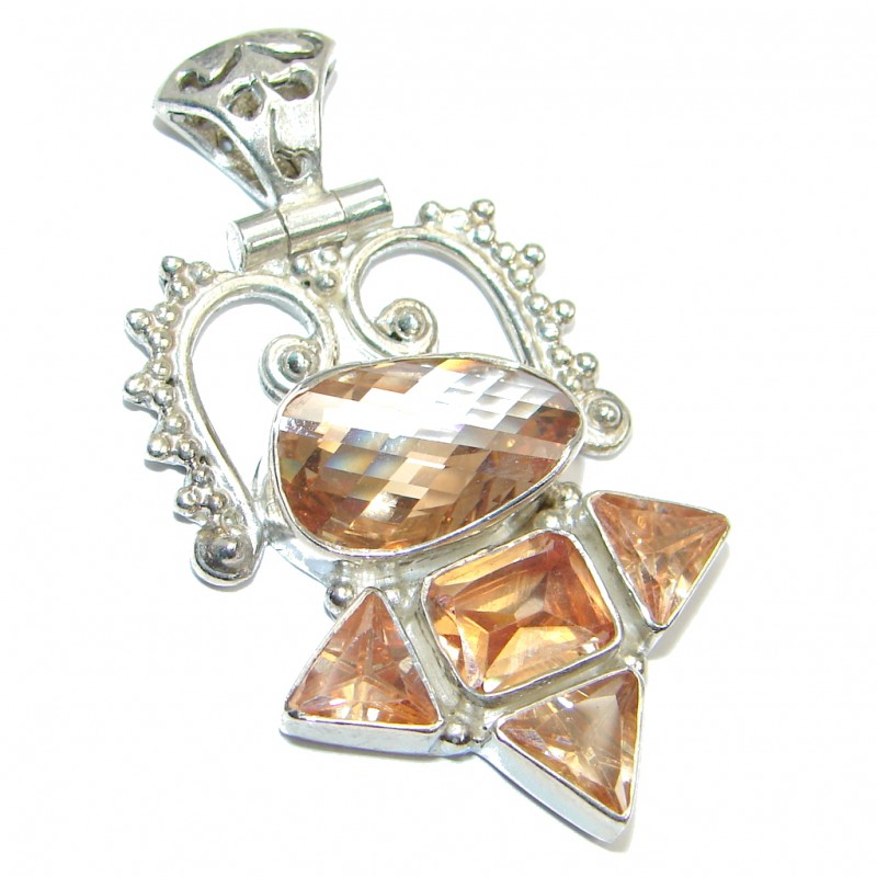 Simple Golden Cubic Zirconia Sterling Silver Pendant