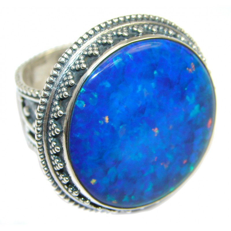 Blue Lab created Fire Opal Sterling Silver Ring size adjustable