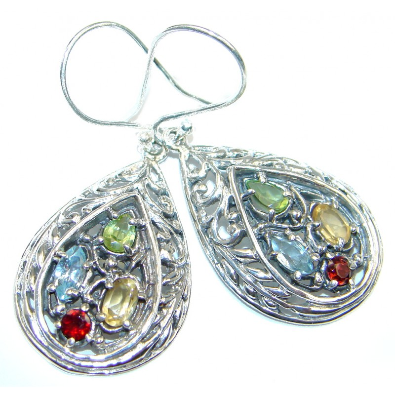 Bali Made Multigem Sterling Silver Earrings