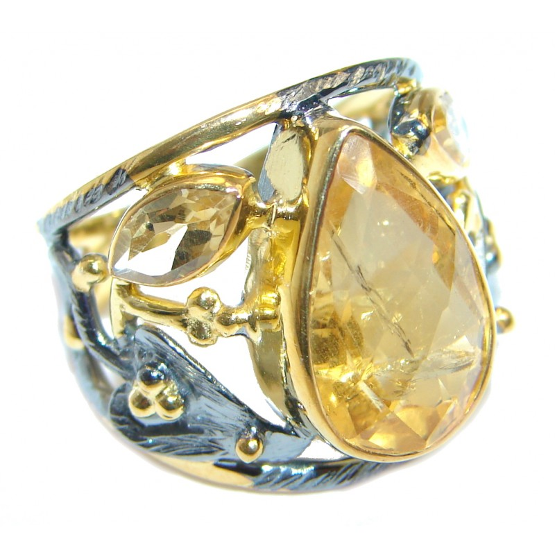 Summer Blast natural Citrine Gold Rhodium plated over Sterling Silver Ring s. 7