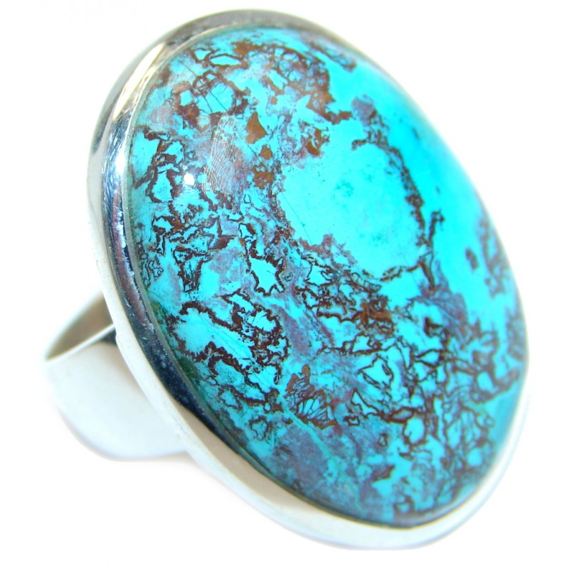 Excellent quality Blue Azurite Sterling Silver Ring s. 9