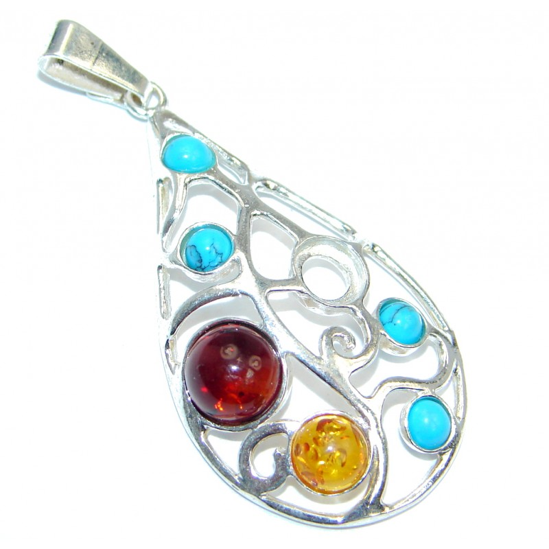 Polish Amber & Turquoise Sterling Silver handmade Pendant