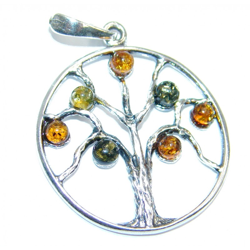 Perfect Family Tree Baltic Polish Amber Sterling Silver Pendant / Brooch