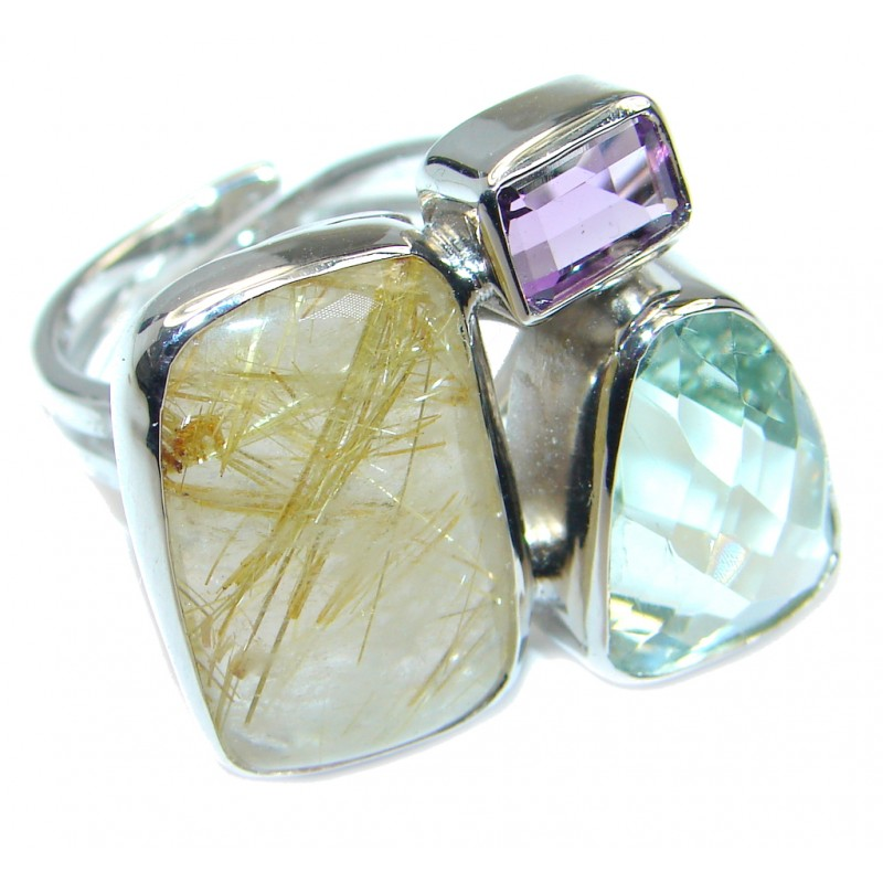 Pale Beauty Golden Rutilated Quartz Sterling Silver ring size adjustable