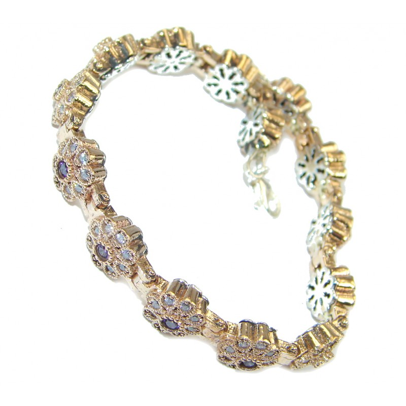 Victorian Style created Amethyst & White Topaz copper over Sterling Silver Bracelet