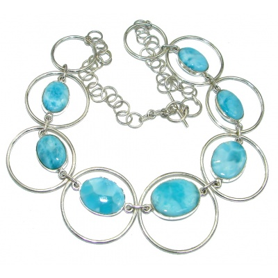 Sublime AAA+ Blue Larimar Sterling Silver handmade necklace