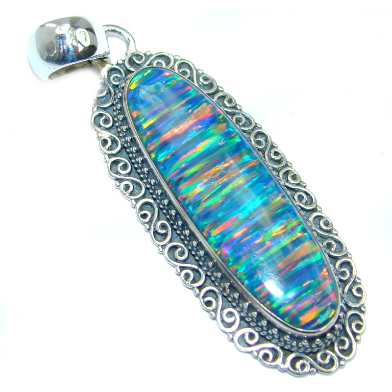 Luxurious Lab. created Fire Opal Sterling Silver handmade Pendant