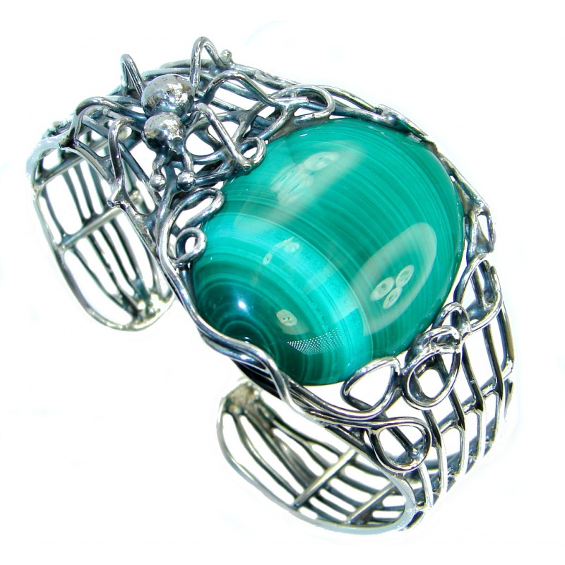 Spider's Web AAA Green Malachite Sterling Silver handcrafted Bracelet / Cuff