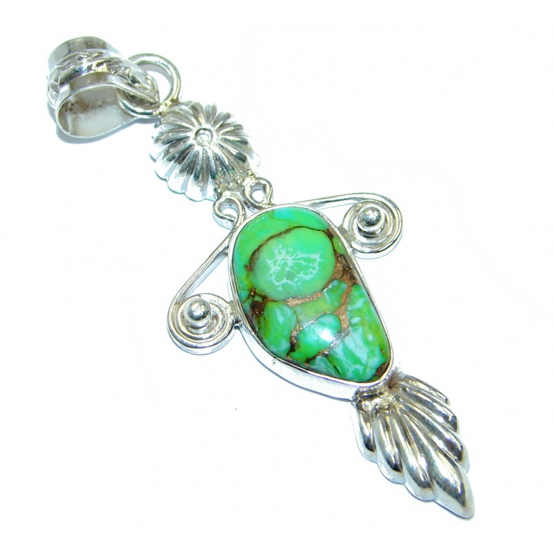 Natural Green Turquoise Amethhyst Sterling Silver Pendant