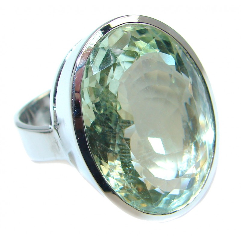 Huge Sublime Green Amethyst Sterling Silver ring s. 7