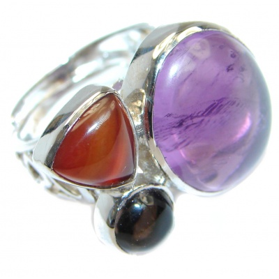 Delicate Purple Amethyst Sterling Silver Ring size adjustable
