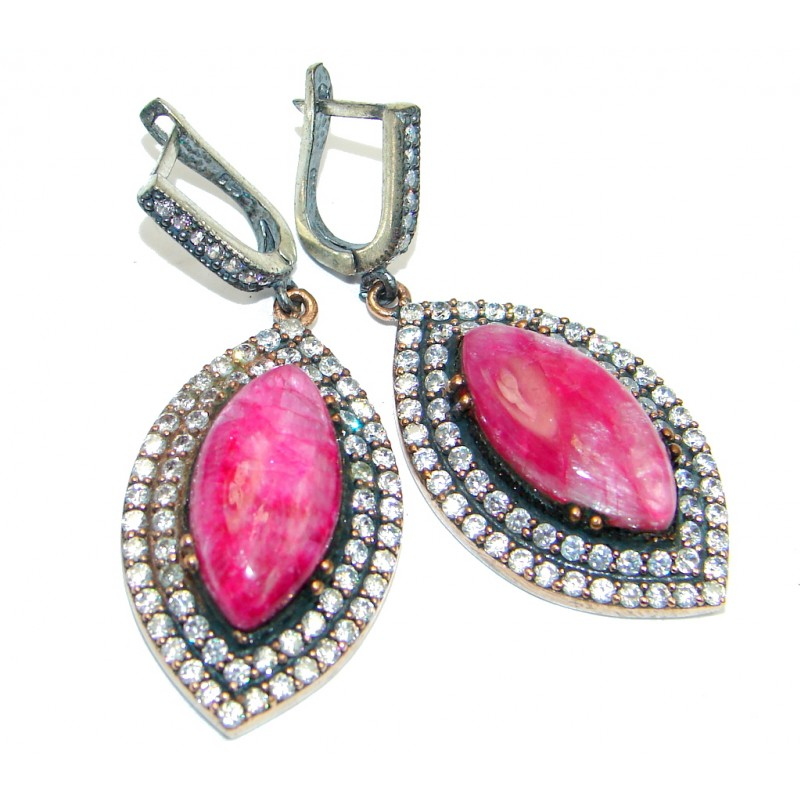 Rainbow Pink Moonstone Spinel copper over Sterling Silver earrings
