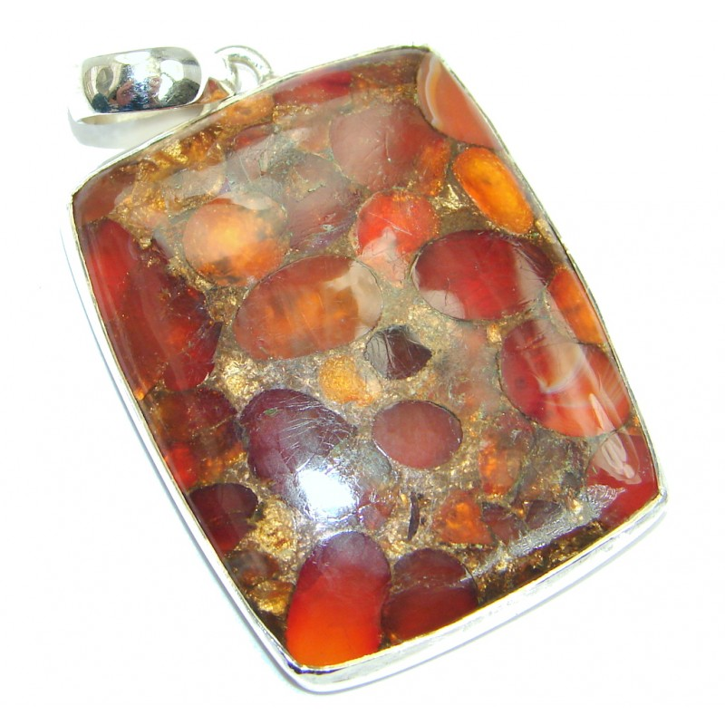 Crushed Carnelian Copper vains Sterling Silver Pendant