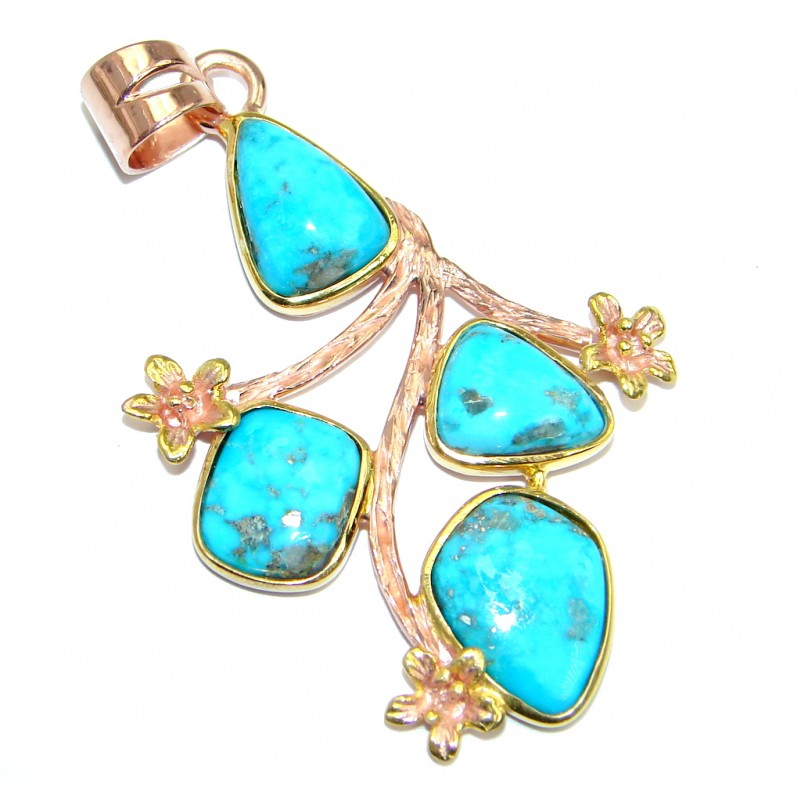 Sleeping Beauty Turquoise Gold plated over Sterling Silver Pendant