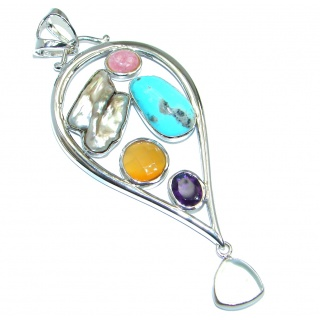 Huge Aura Of Beauty Multistone Sterling Silver Pendant