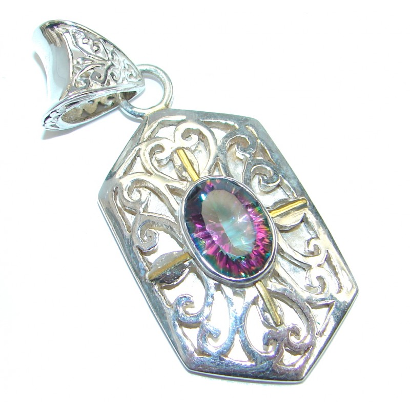 Indonesian Beauty Topaz Two Tones Sterling Silver Pendant