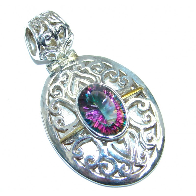 Spectacular Indonesian Design Magic Topaz Two Tones Sterling Silver Pendant