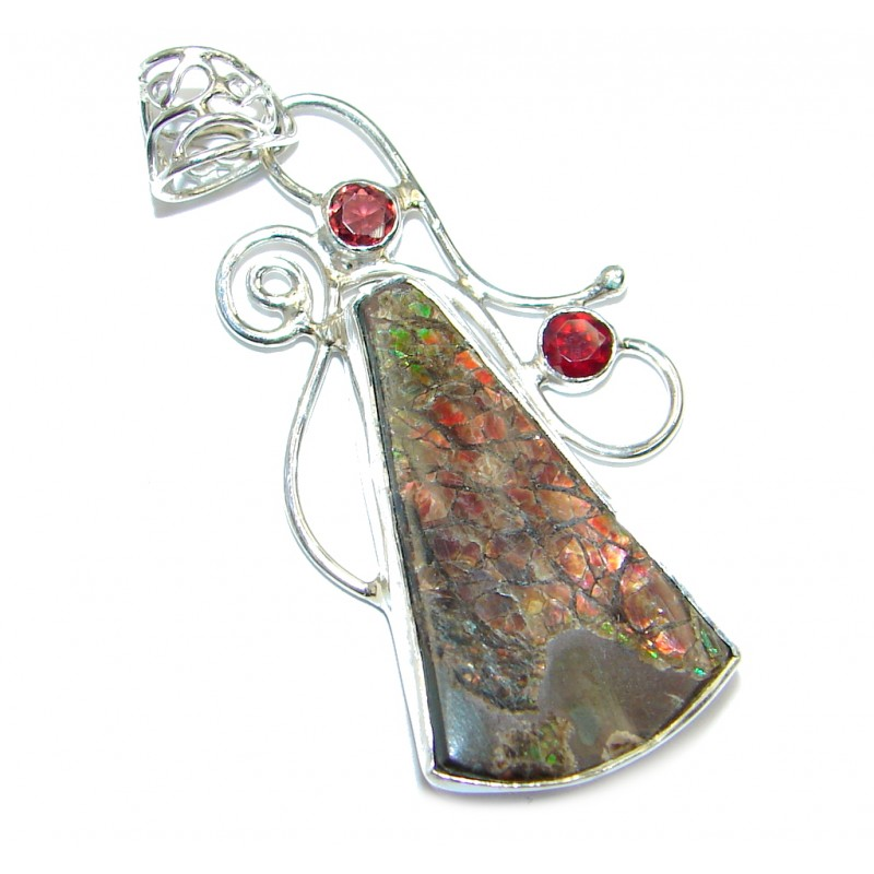Natural AAA Dragon's Skin Ammolite Sterling Silver Pendant