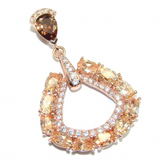 Perfect created Morganite Gold over Sterling Silver Pendant