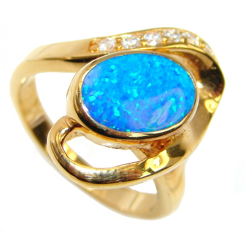 Fabulous Blue Fire Japanese Opal Gold over Sterling Silver ring s. 6