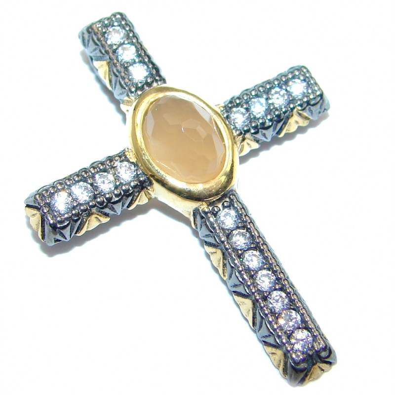 Yellow Agate Sterling Silver Pendant / Cross