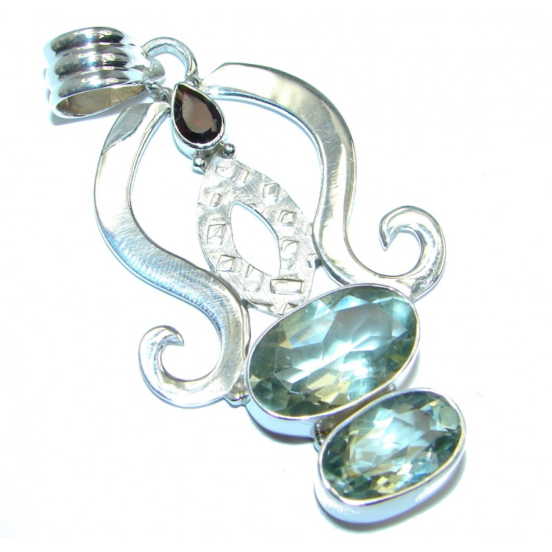 Great quality Green Amethyst Sterling Silver Pendant