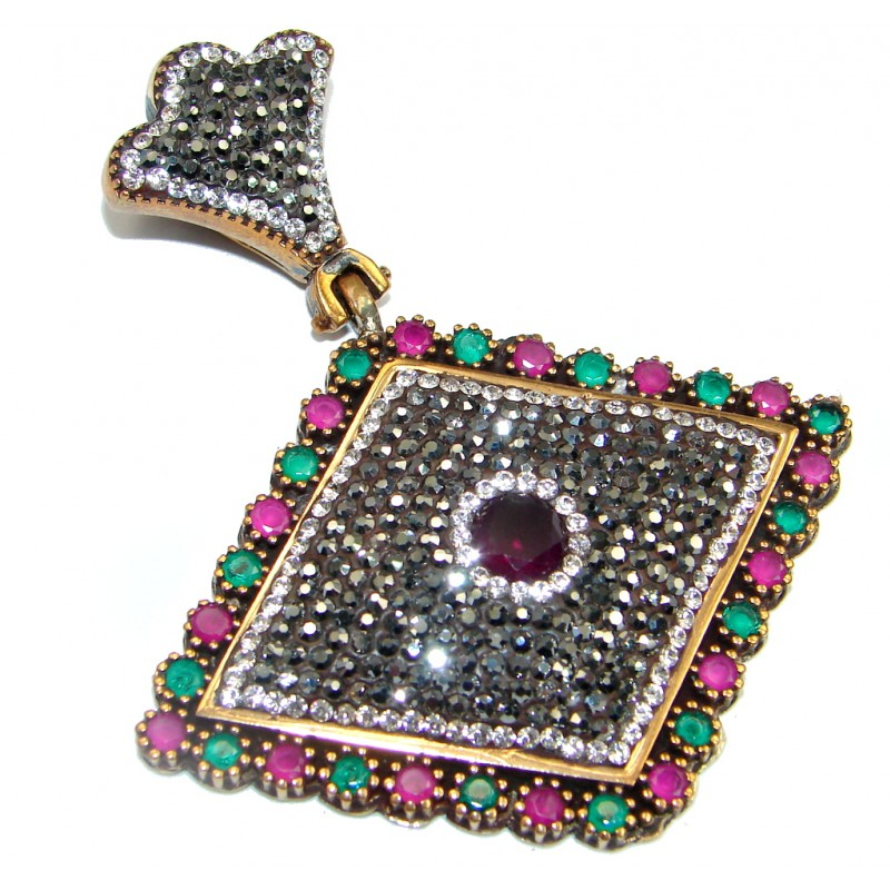 Huge Perfect created Red Ruby & White Topaz Sterling Silver Pendant