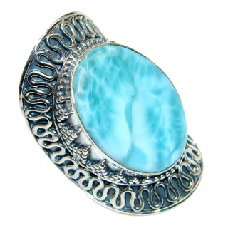 Genuine AAA Blue Larimar Oxidized Sterling Silver handmade Ring size adjustable