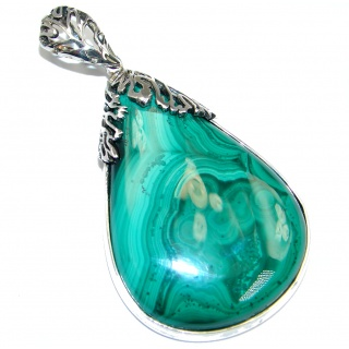 AAA Green Malachite Sterling Silver handmade Pendant
