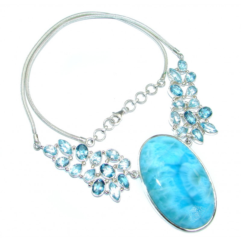 Natural AAA+ Blue Larimar Swiss Blue Topaz Sterling Silver handmade necklace