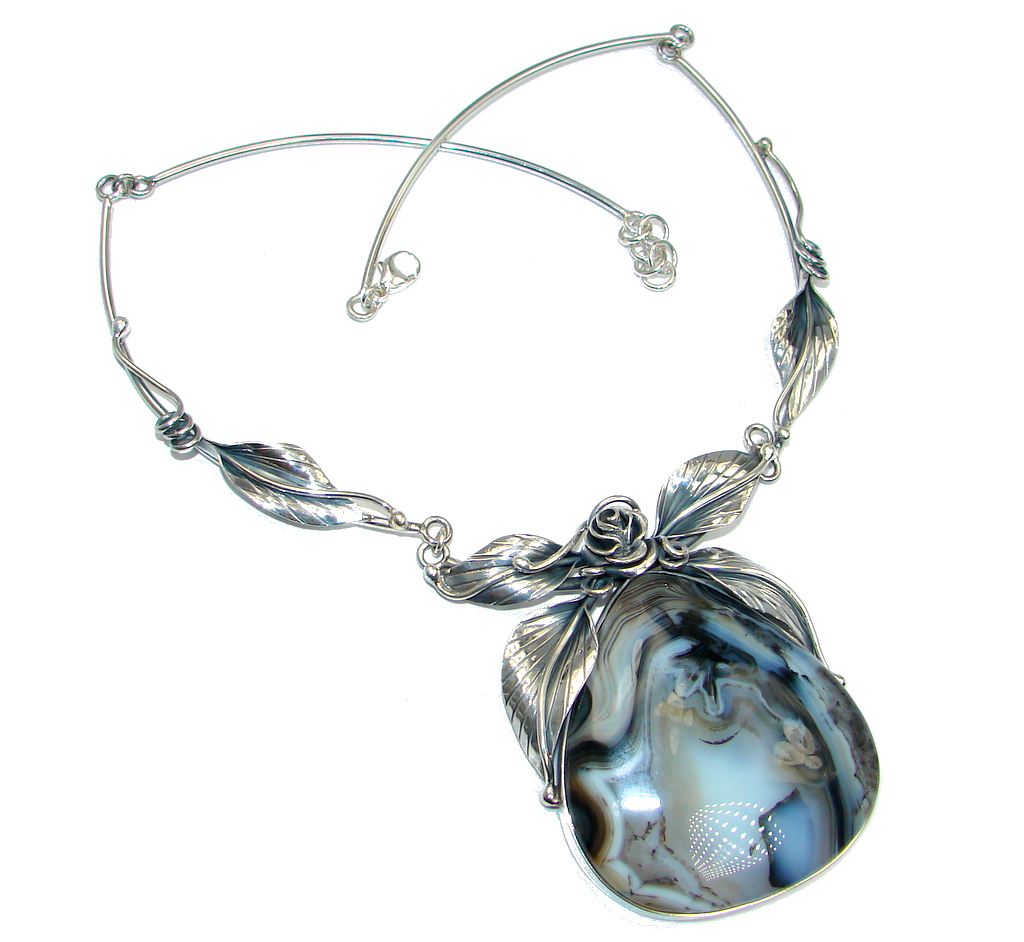 Aura Of Beauty Natural Botswana Agate Sterling Silver
