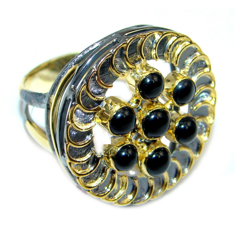 Amazing AAA Black Onyx Gold over Sterling Silver ring size 8 1/4