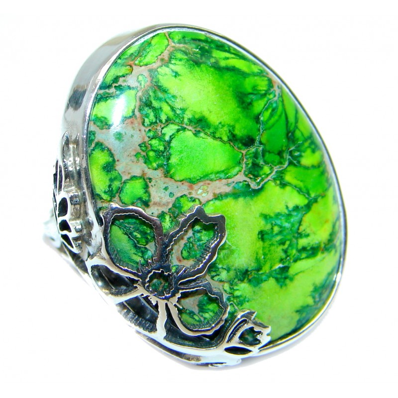 Under the Sea Sediment Jasper Two Tones Sterling Silver Ring size adjustable