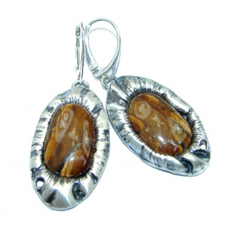Golden Tigers Eye Hammered Sterling Silver handcrafted Earrings