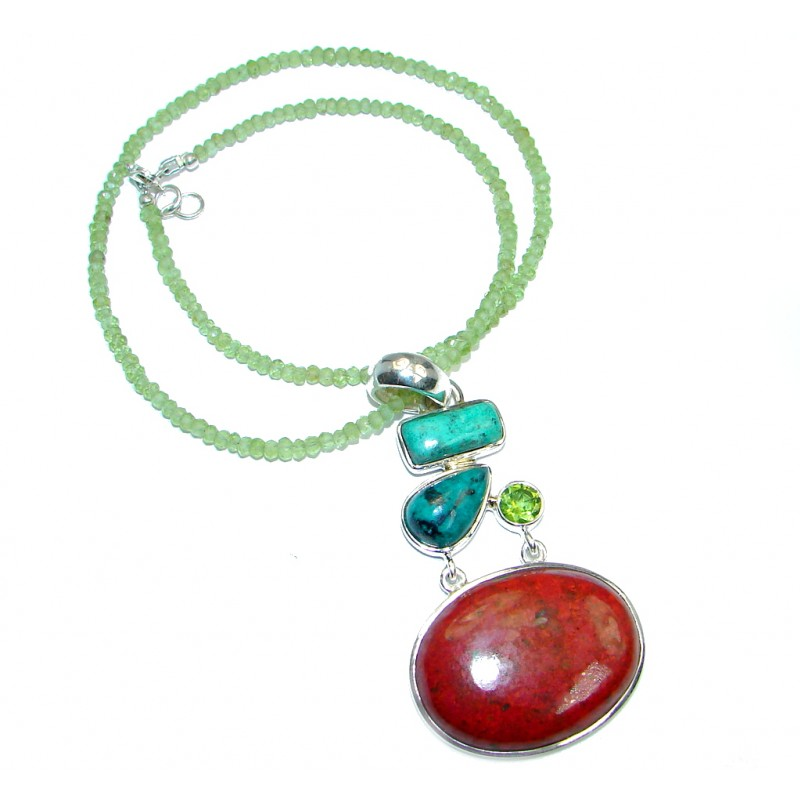 Massive Sunrise Sonora Jasper Peridot Sterling Silver handmade Necklace