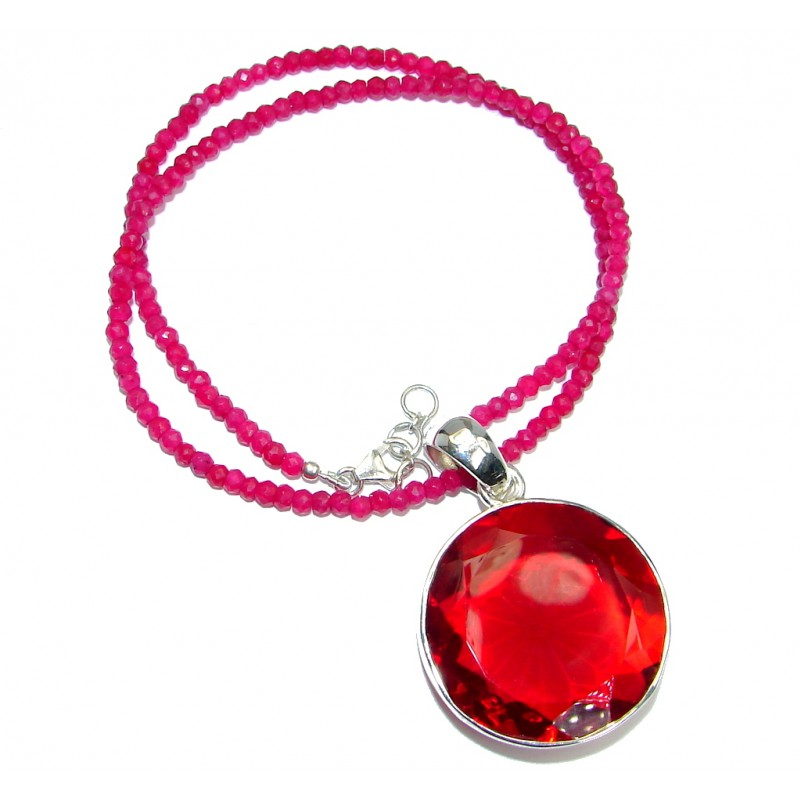 Perfect created Red Quartz Ruby Sterling Silver handmade necklace