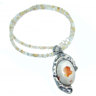 Great Mexican Fire Opal Golden Rutilated Quartz Sterling Silver handmade Necklace