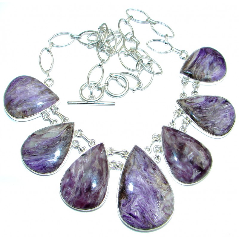 Great Quality Siberian Purple Charoite Sterling Silver handmade Necklace