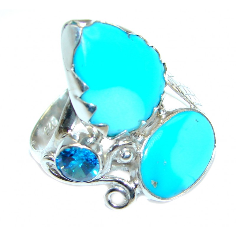 Sleeping Beauty Blue Turquoise Sterling Silver Ring s. 8